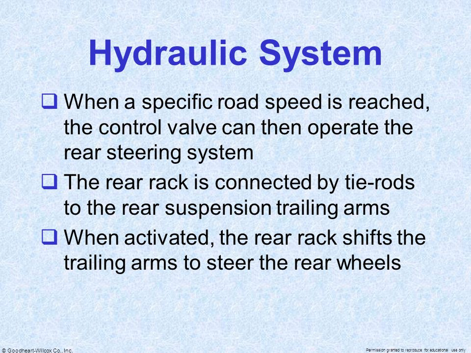 Hydraulic System When a specific road speed is reached, the control valve can then operate the rear steering system.
