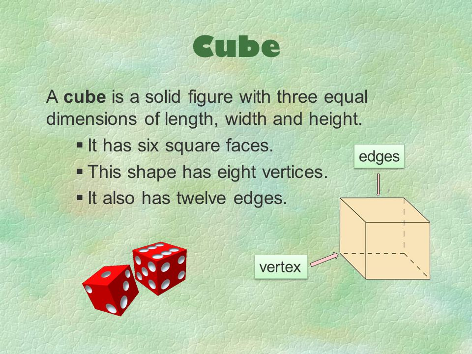 Cube A cube is a solid figure with three equal dimensions of length, width and height. It has six square faces.