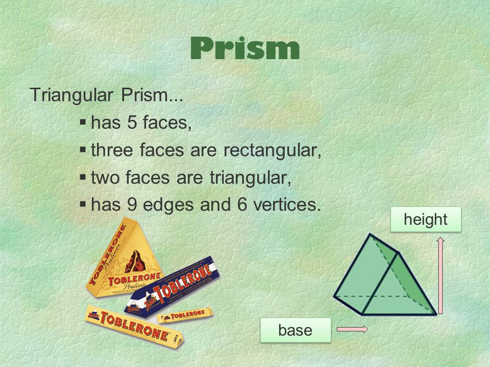 Prism Triangular Prism... has 5 faces, three faces are rectangular,