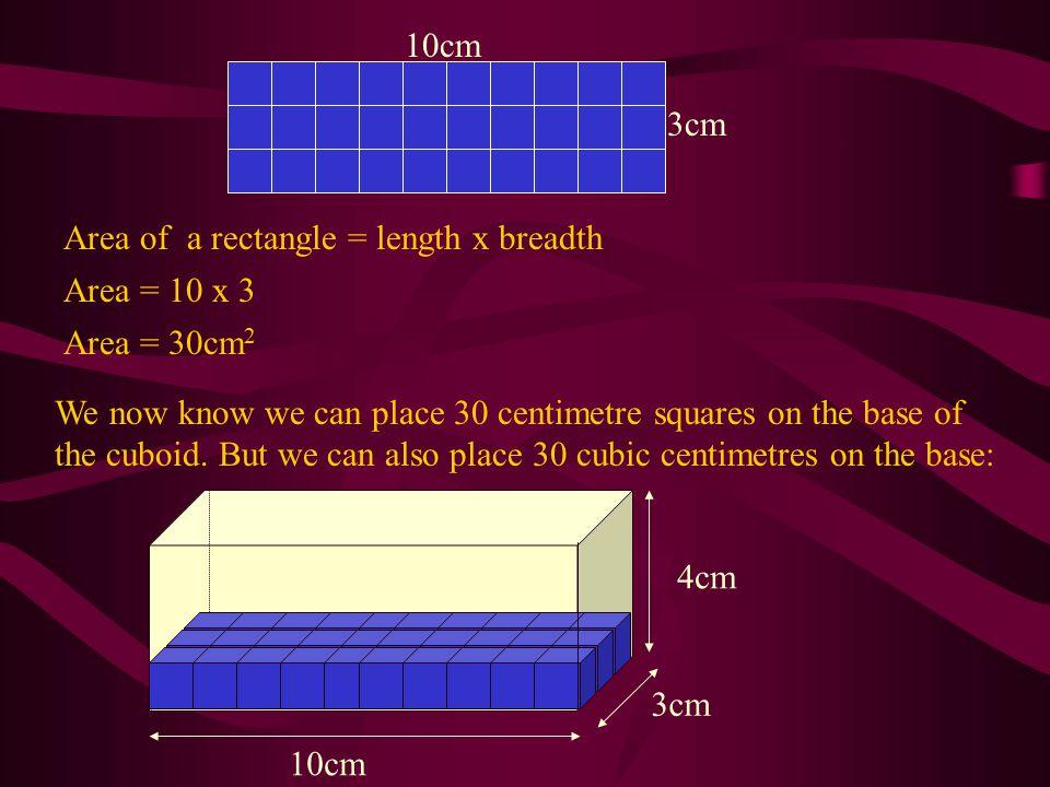 3cm 10cm. Area of a rectangle = length x breadth. Area = 10 x 3. Area = 30cm2.