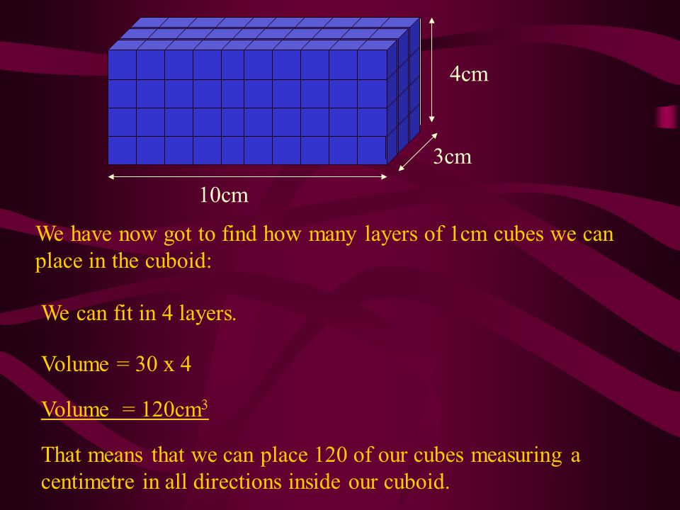 10cm 3cm. 4cm. We have now got to find how many layers of 1cm cubes we can place in the cuboid: We can fit in 4 layers.