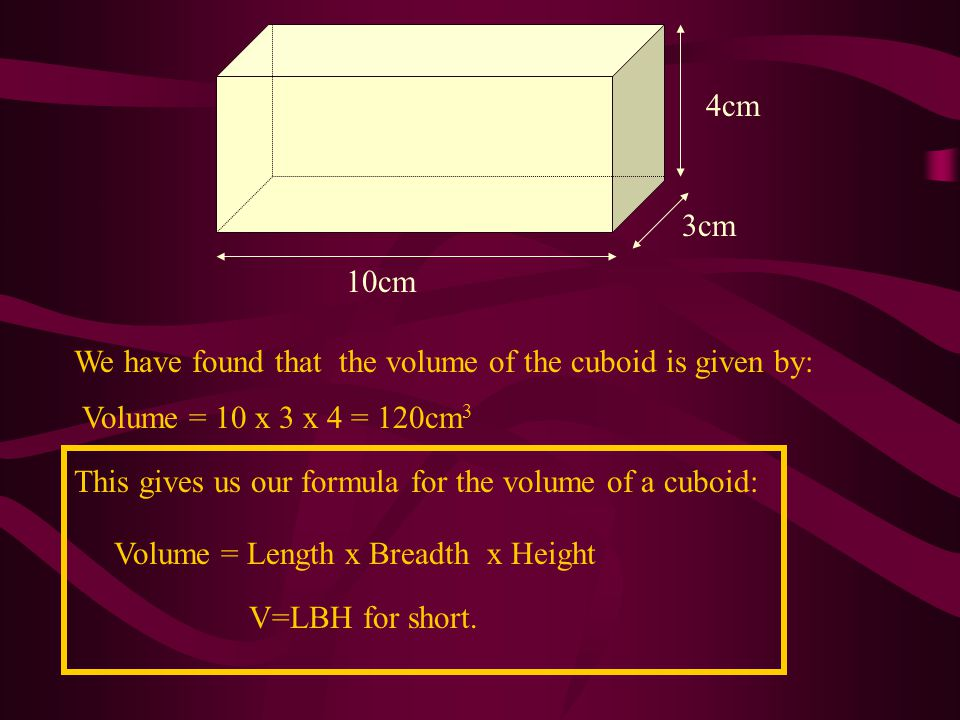 10cm 3cm. 4cm. We have found that the volume of the cuboid is given by: Volume = 10 x 3 x 4 = 120cm3.