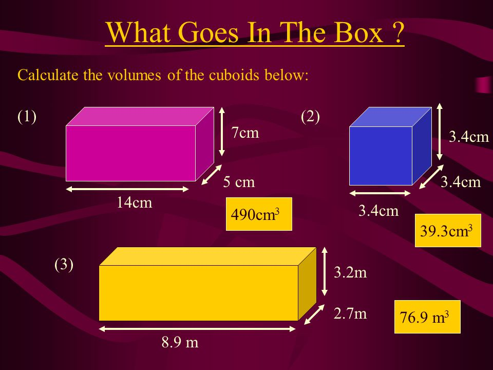 What Goes In The Box Calculate the volumes of the cuboids below: (1)
