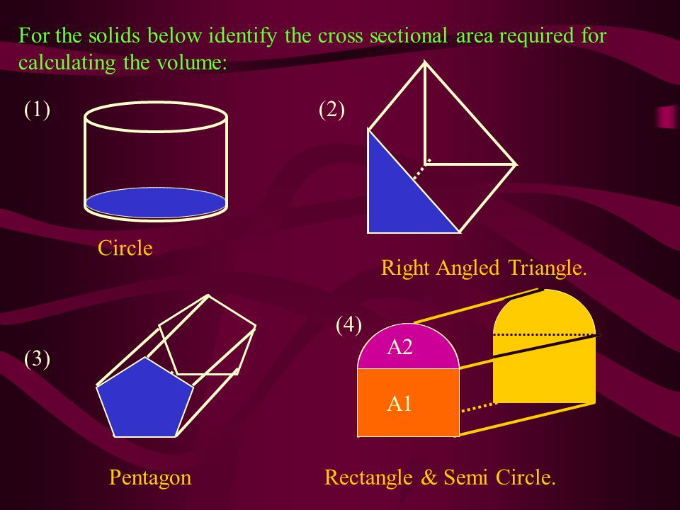 For the solids below identify the cross sectional area required for calculating the volume: