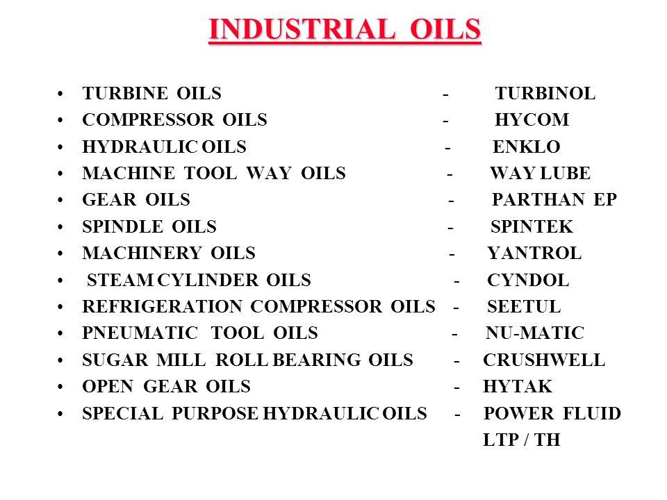 INDUSTRIAL OILS TURBINE OILS - TURBINOL COMPRESSOR OILS - HYCOM