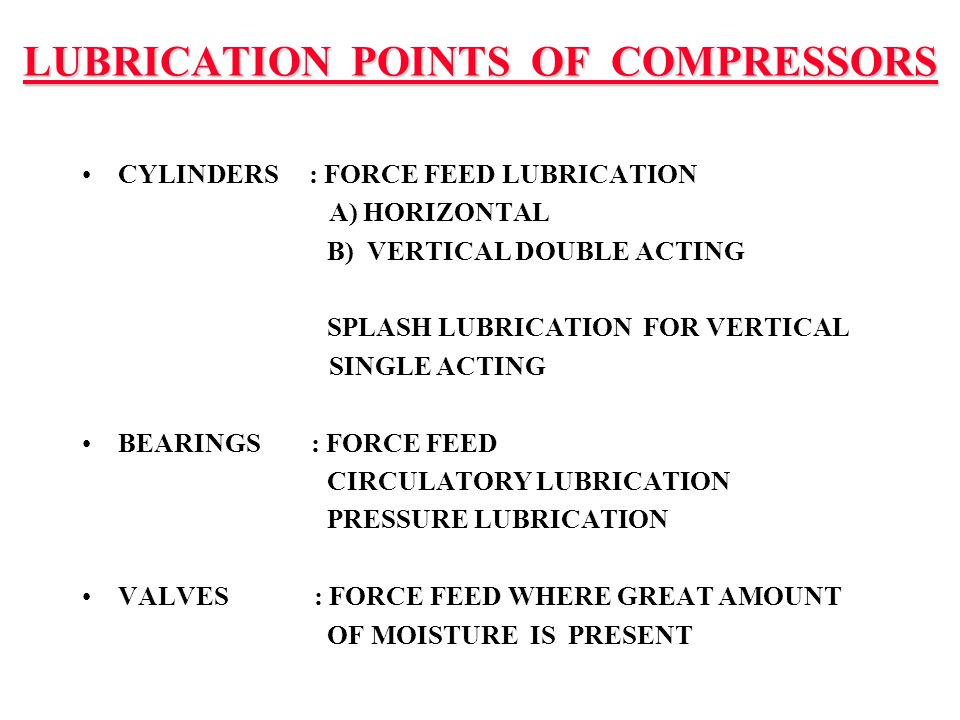LUBRICATION POINTS OF COMPRESSORS