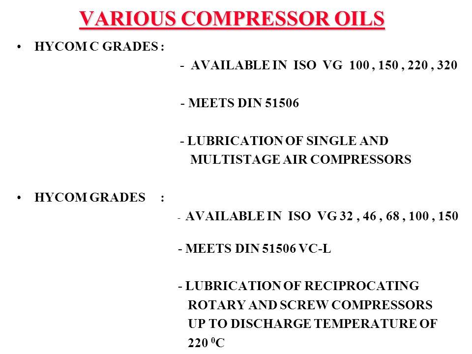 VARIOUS COMPRESSOR OILS