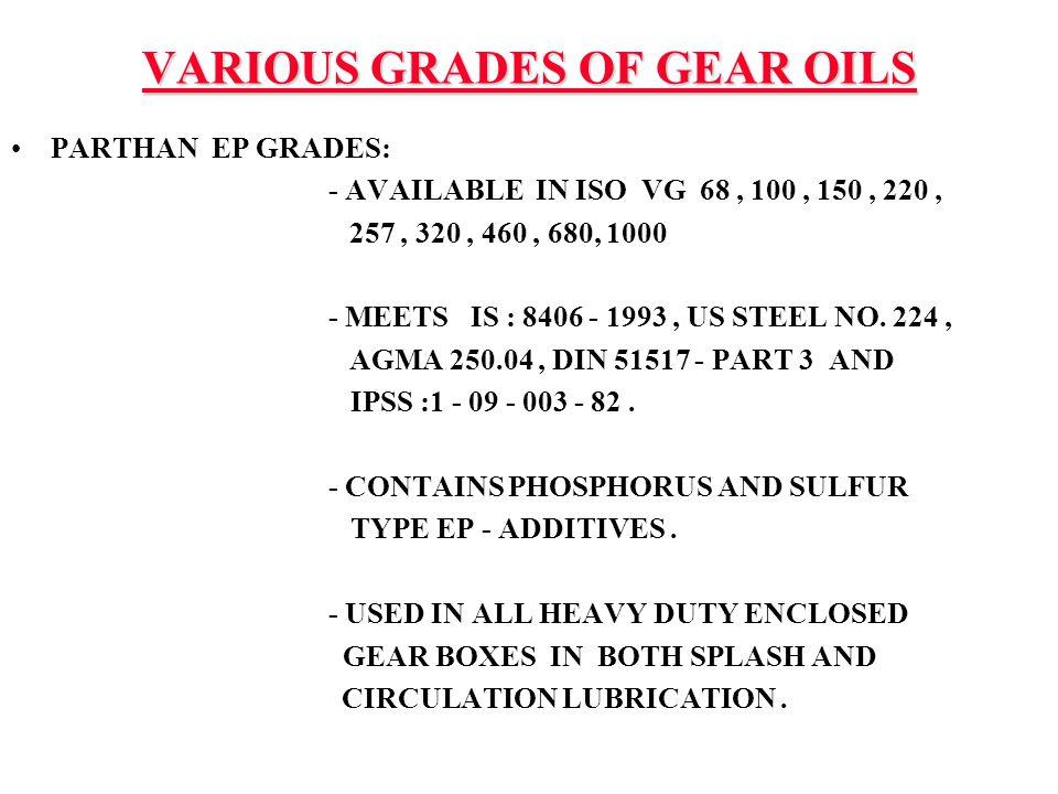 VARIOUS GRADES OF GEAR OILS
