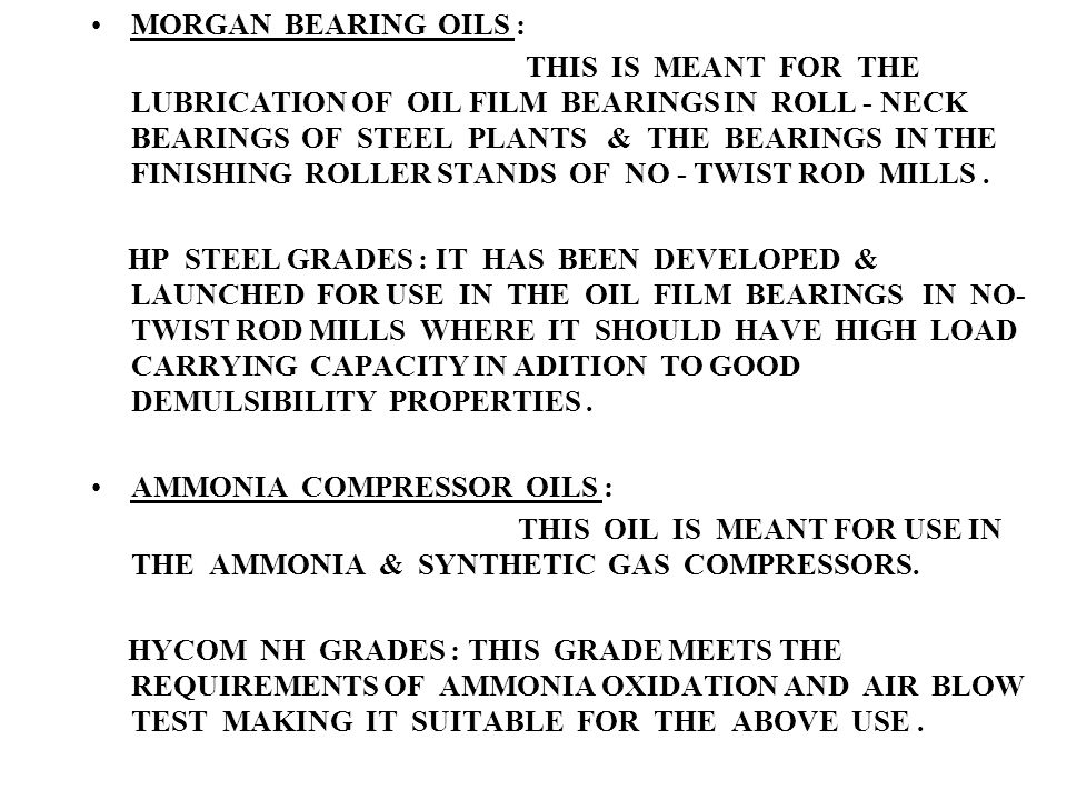 MORGAN BEARING OILS :