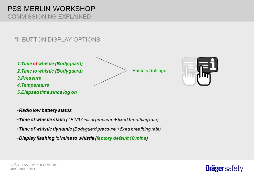 PSS MERLIN WORKSHOP COMMISSIONING EXPLAINED I BUTTON DISPLAY OPTIONS