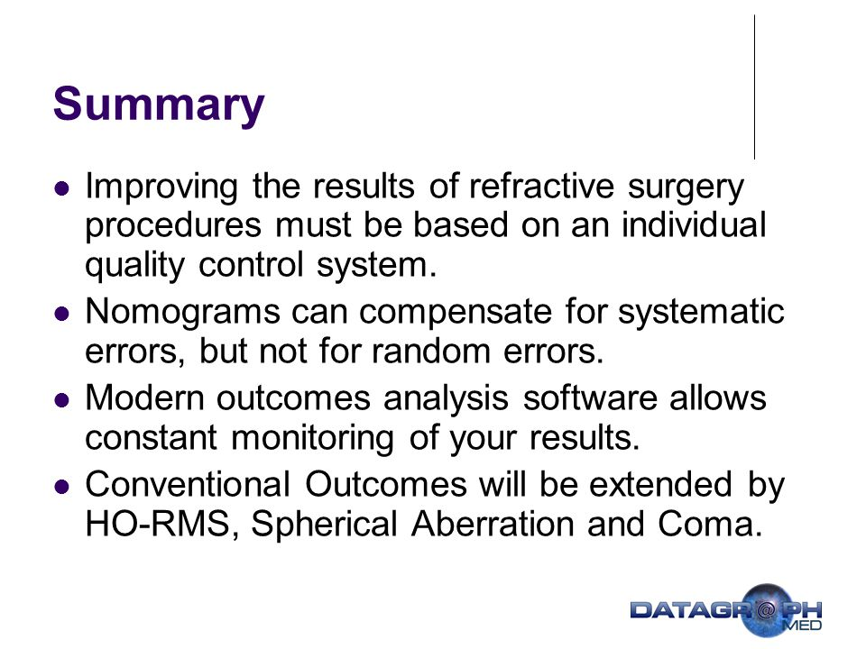 Summary Improving the results of refractive surgery procedures must be based on an individual quality control system.