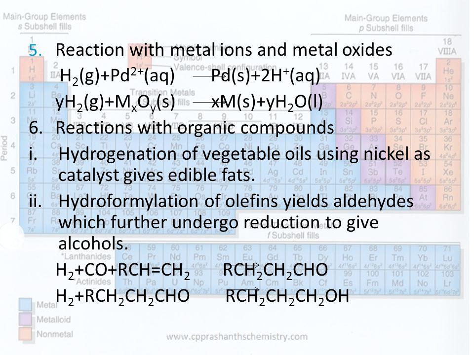 H2(g)+Pd2+(aq) Pd(s)+2H+(aq) yH2(g)+MxOy(s) xM(s)+yH2O(l)