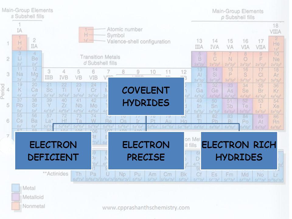 COVELENT HYDRIDES ELECTRON DEFICIENT PRECISE ELECTRON RICH