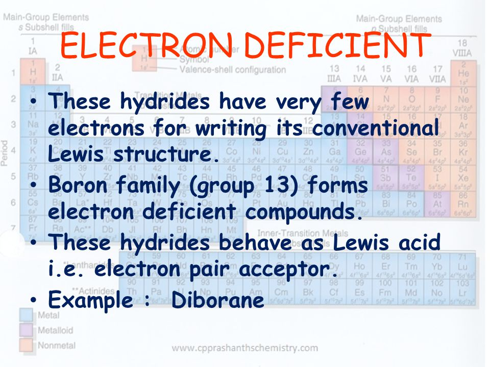 ELECTRON DEFICIENT These hydrides have very few electrons for writing its conventional Lewis structure.