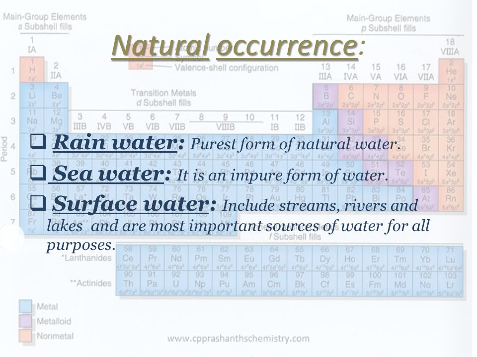 Natural occurrence: Rain water: Purest form of natural water.