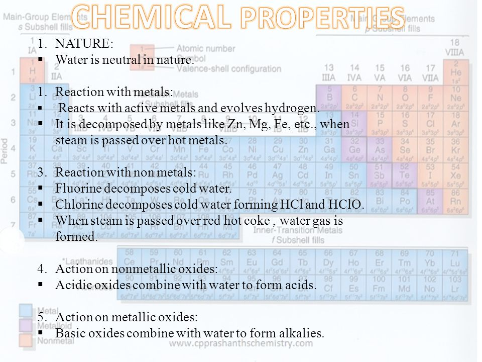 CHEMICAL PROPERTIES NATURE: Water is neutral in nature.