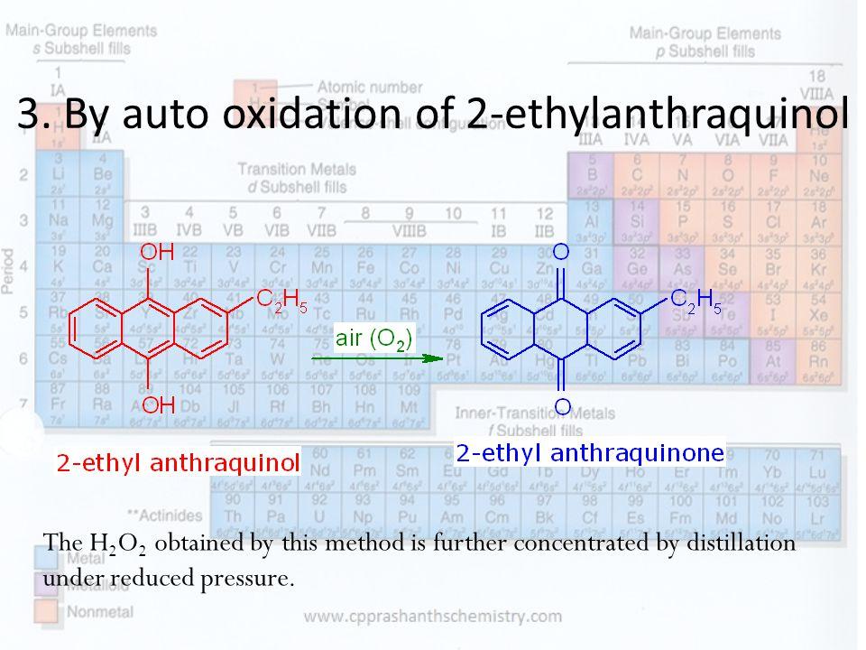 3. By auto oxidation of 2-ethylanthraquinol