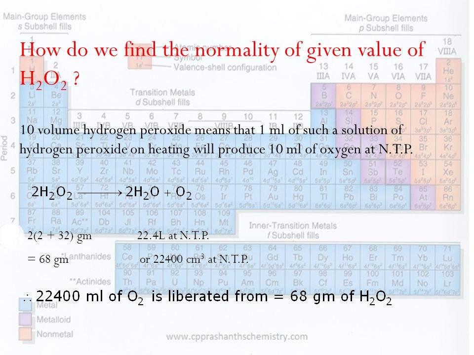 How do we find the normality of given value of H2O2