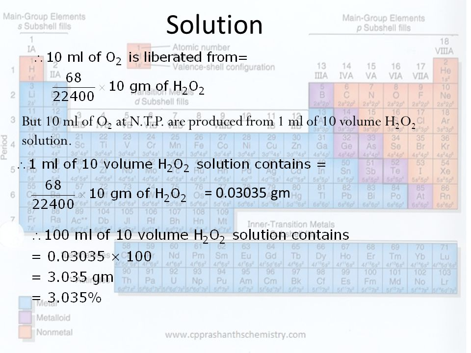 Solution But 10 ml of O2 at N.T.P. are produced from 1 ml of 10 volume H2O2 solution. = 0.03035 gm
