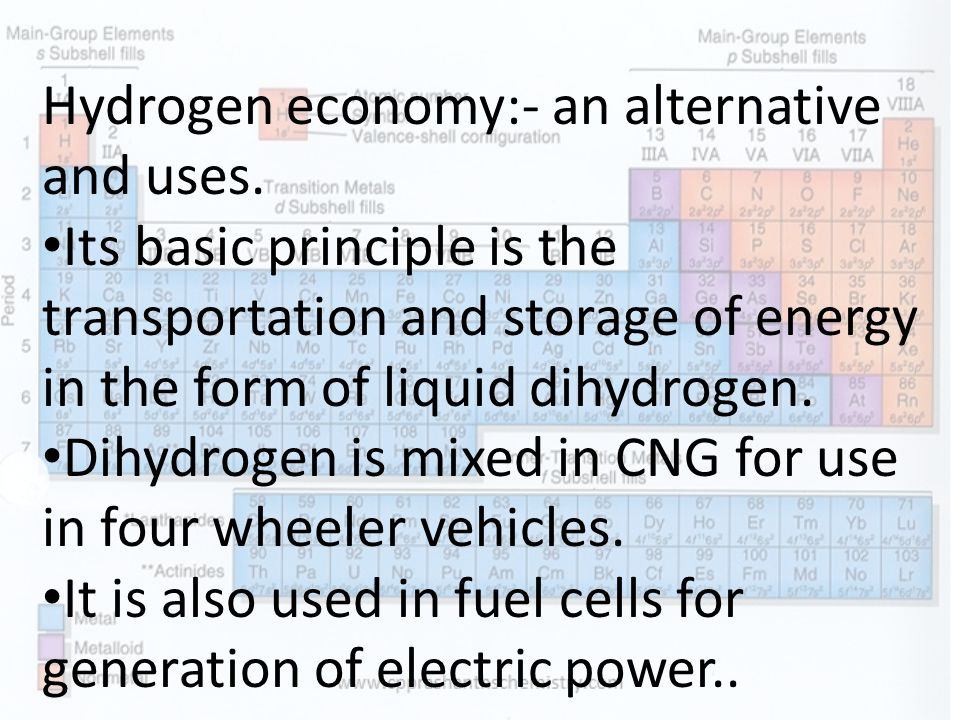 Hydrogen economy:- an alternative and uses.