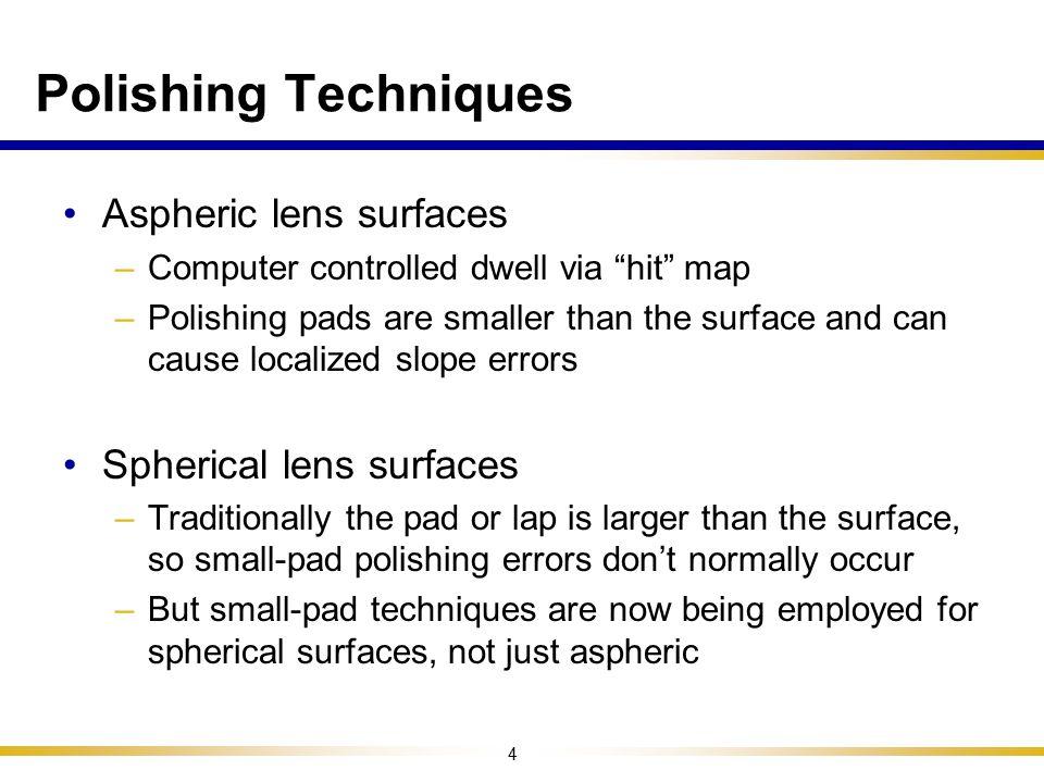Polishing Techniques Aspheric lens surfaces Spherical lens surfaces