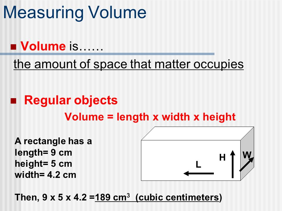 Measuring Volume Volume is…… the amount of space that matter occupies