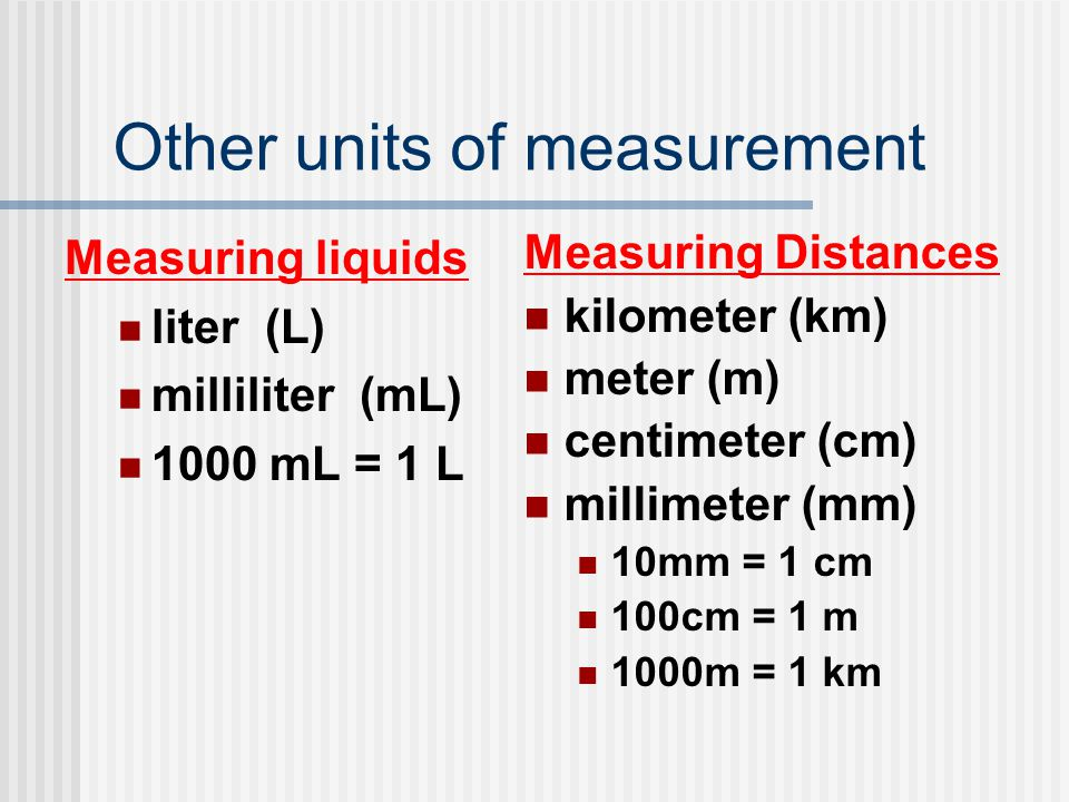 Other units of measurement