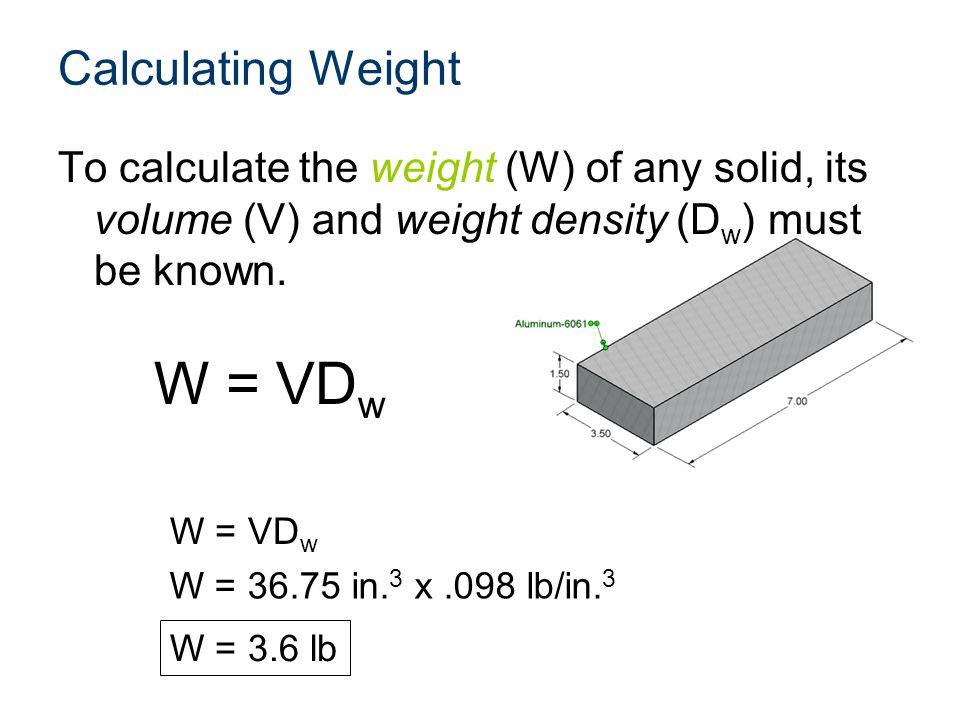 W = VDw Calculating Weight