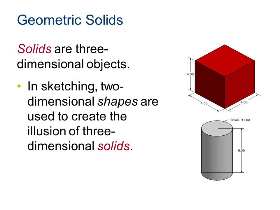 Geometric Solids Solids are three-dimensional objects.