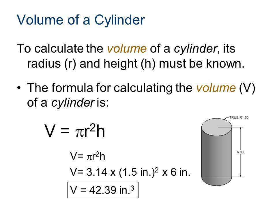 V = r2h Volume of a Cylinder