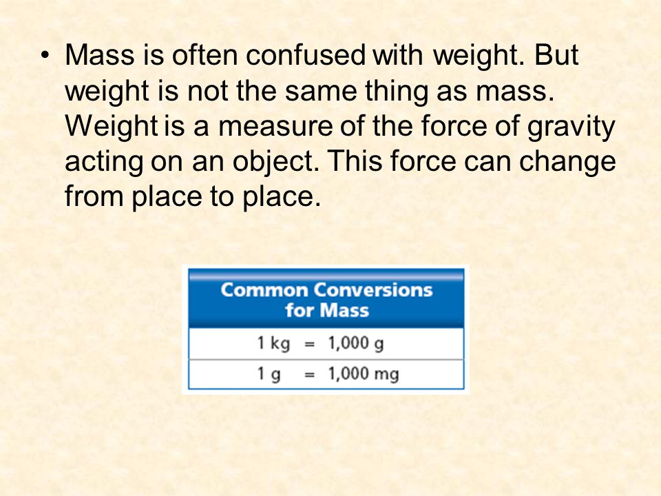 Mass is often confused with weight