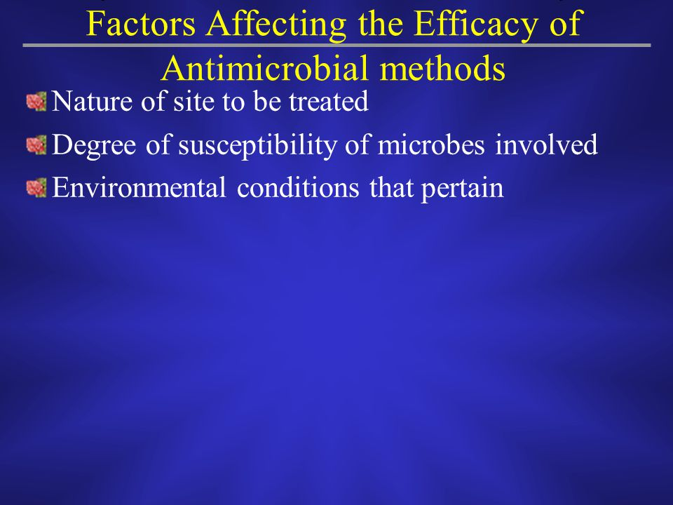 Factors Affecting the Efficacy of Antimicrobial methods