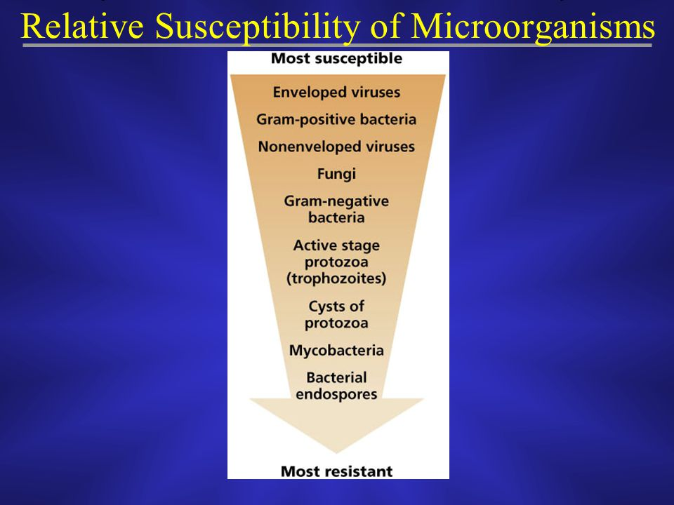 Relative Susceptibility of Microorganisms