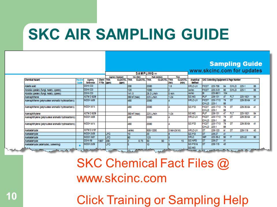 SKC AIR SAMPLING GUIDE SKC Chemical Fact Files @ www.skcinc.com