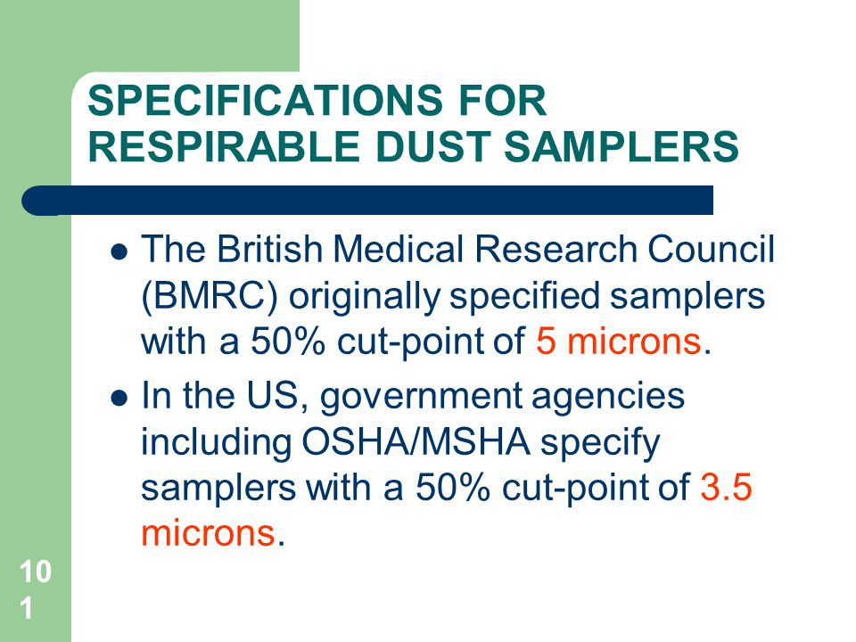 SPECIFICATIONS FOR RESPIRABLE DUST SAMPLERS