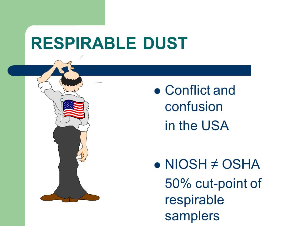 RESPIRABLE DUST Conflict and confusion in the USA NIOSH ≠ OSHA