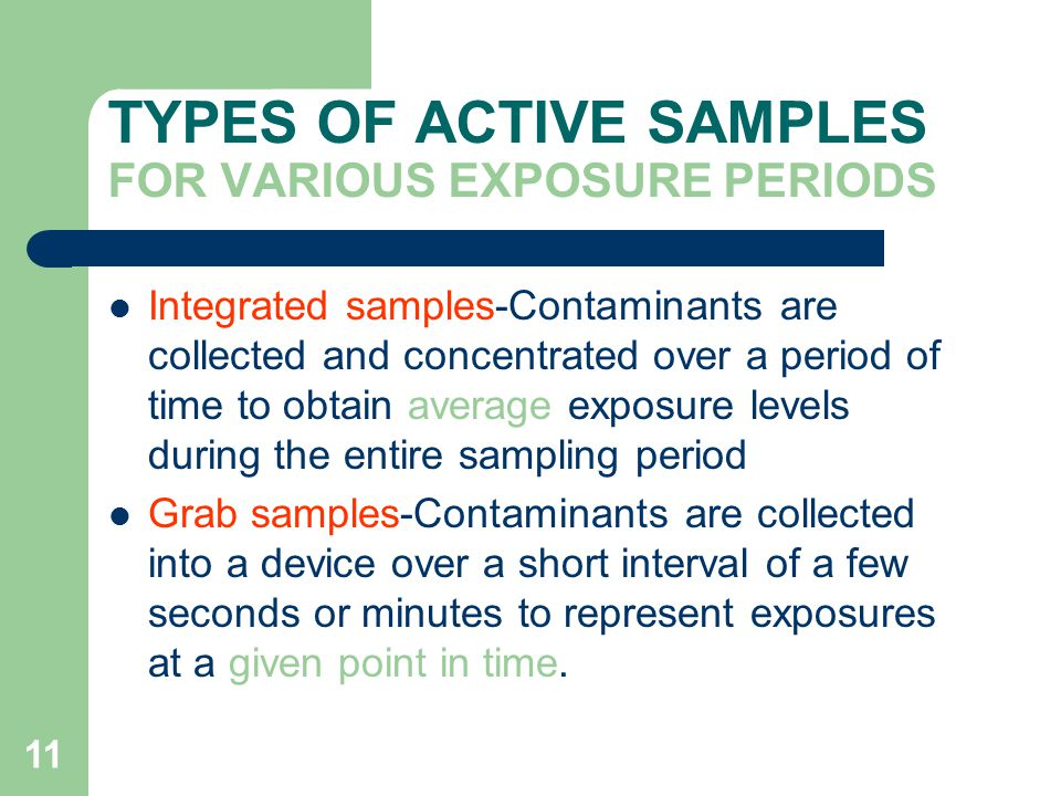 TYPES OF ACTIVE SAMPLES FOR VARIOUS EXPOSURE PERIODS