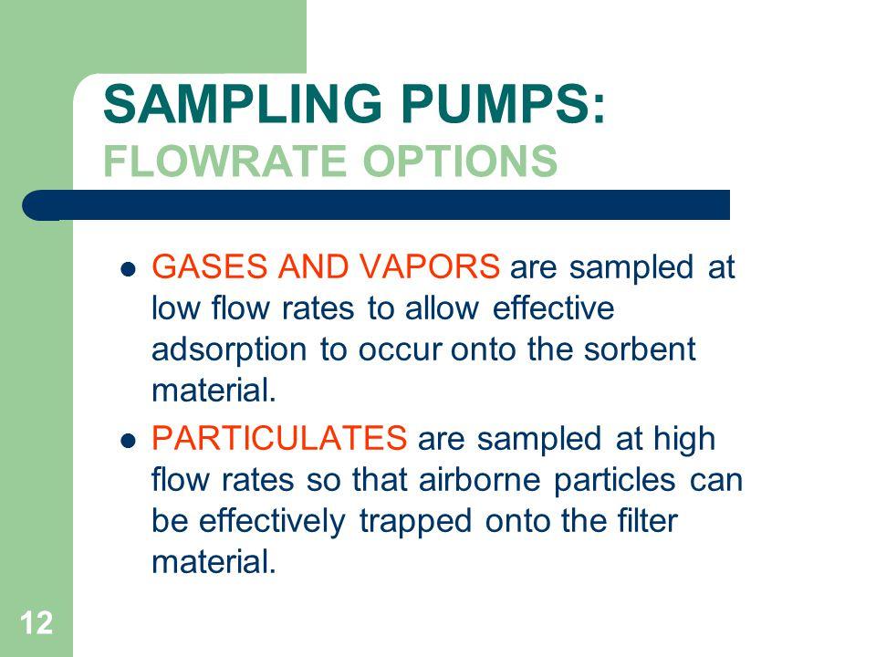 SAMPLING PUMPS: FLOWRATE OPTIONS