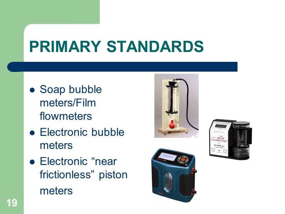 PRIMARY STANDARDS Soap bubble meters/Film flowmeters