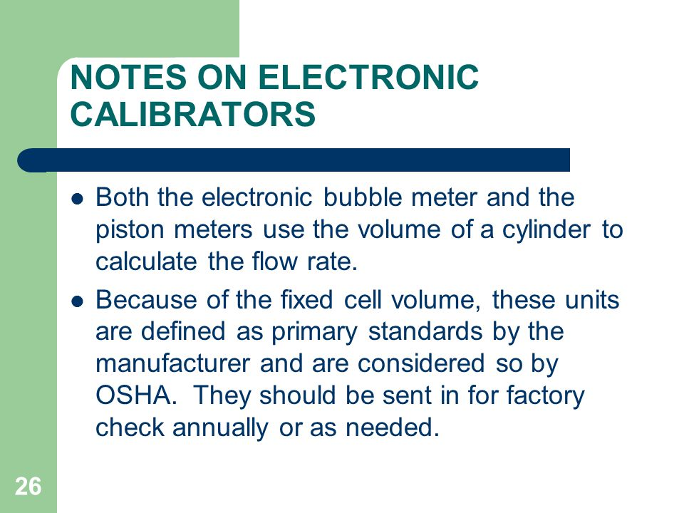 NOTES ON ELECTRONIC CALIBRATORS
