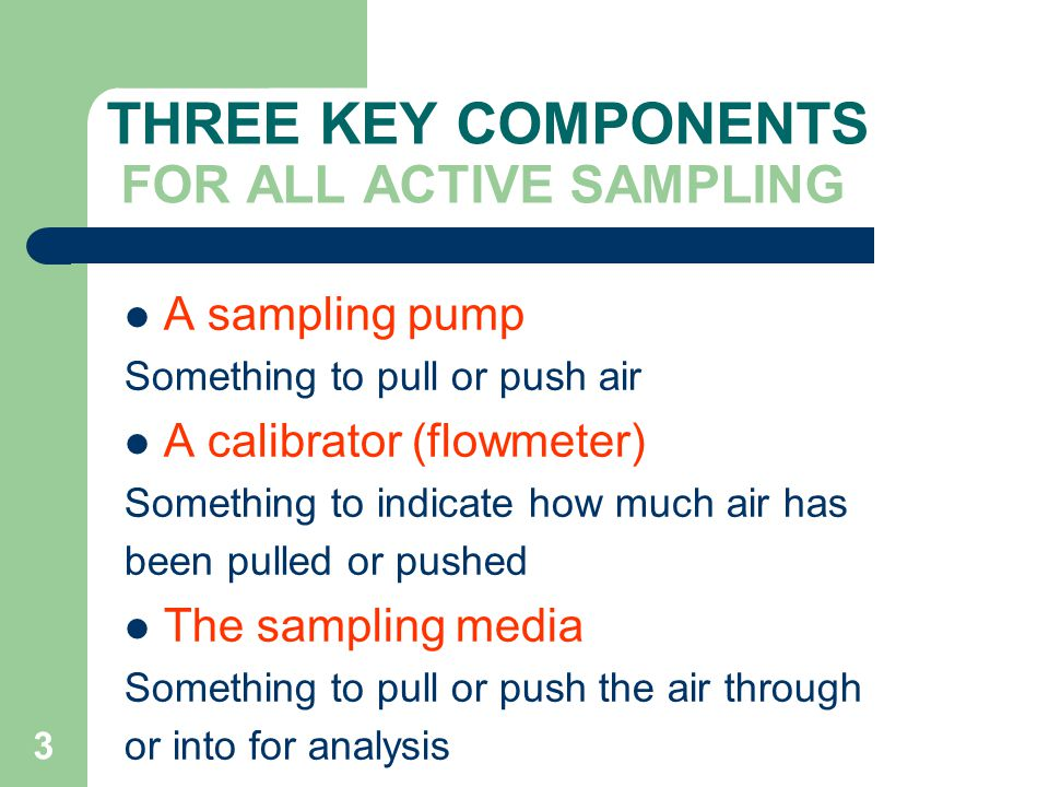 THREE KEY COMPONENTS FOR ALL ACTIVE SAMPLING