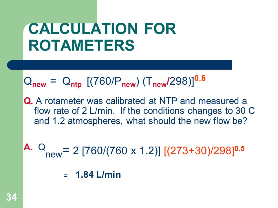 CALCULATION FOR ROTAMETERS