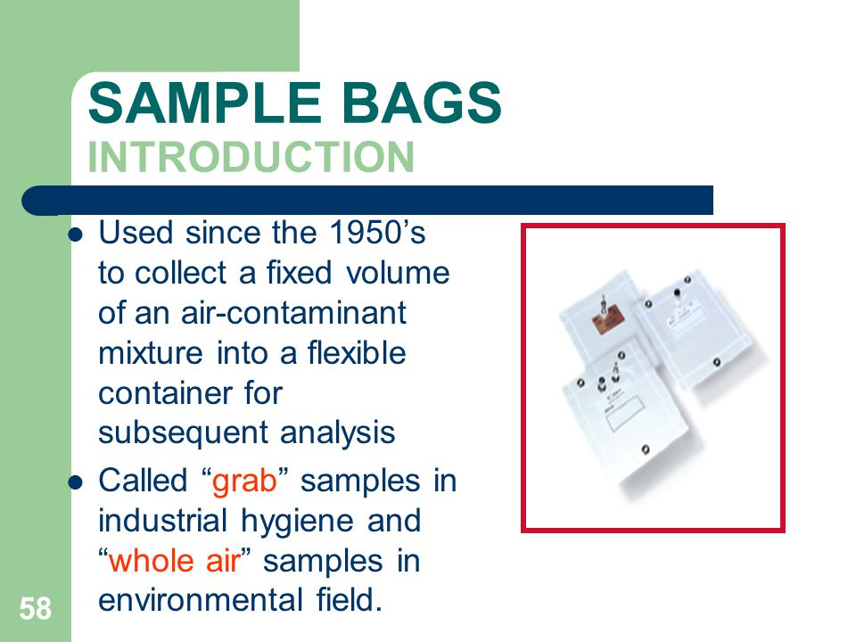 SAMPLE BAGS INTRODUCTION