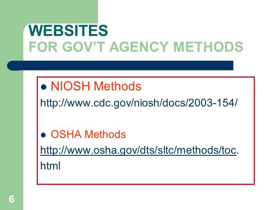 WEBSITES FOR GOV'T AGENCY METHODS