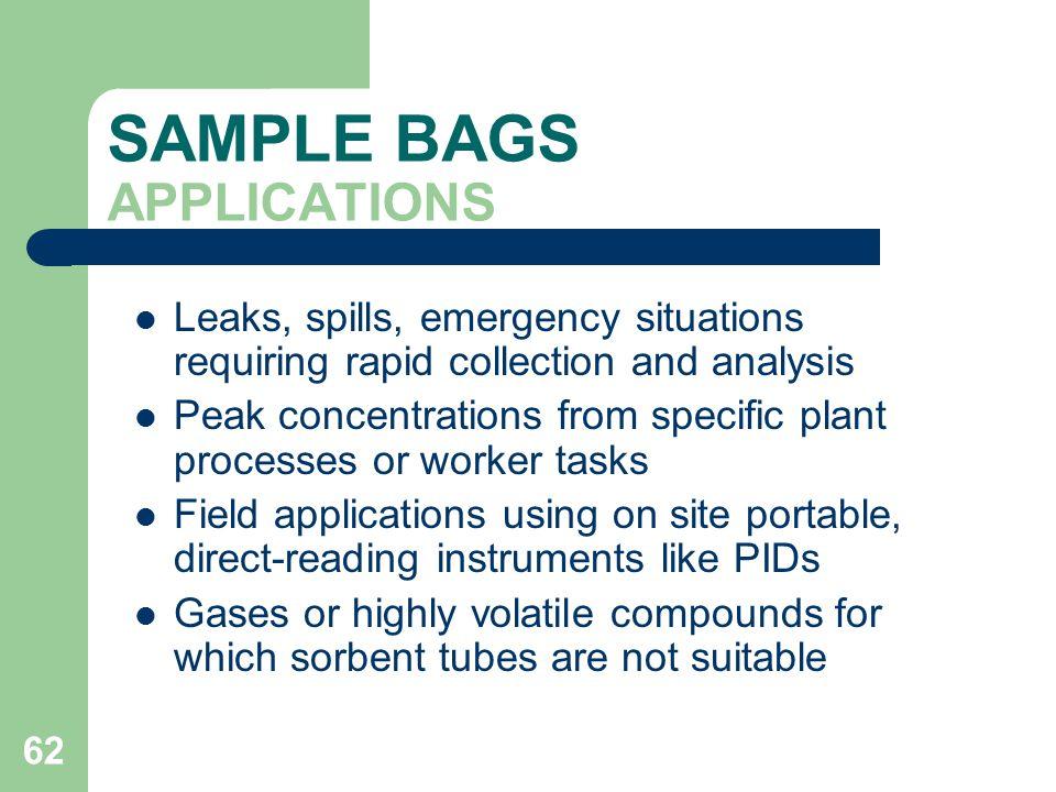 SAMPLE BAGS APPLICATIONS