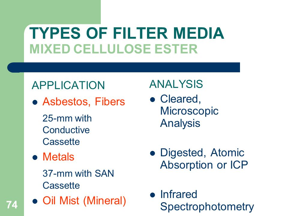TYPES OF FILTER MEDIA MIXED CELLULOSE ESTER