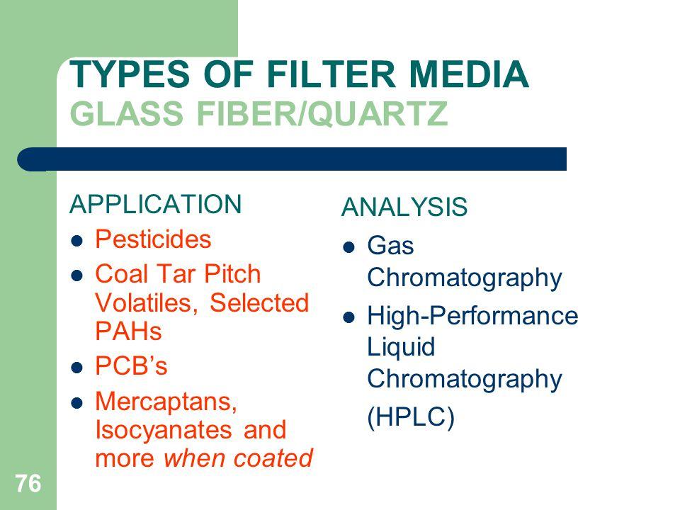 TYPES OF FILTER MEDIA GLASS FIBER/QUARTZ