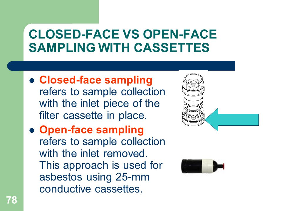 CLOSED-FACE VS OPEN-FACE SAMPLING WITH CASSETTES