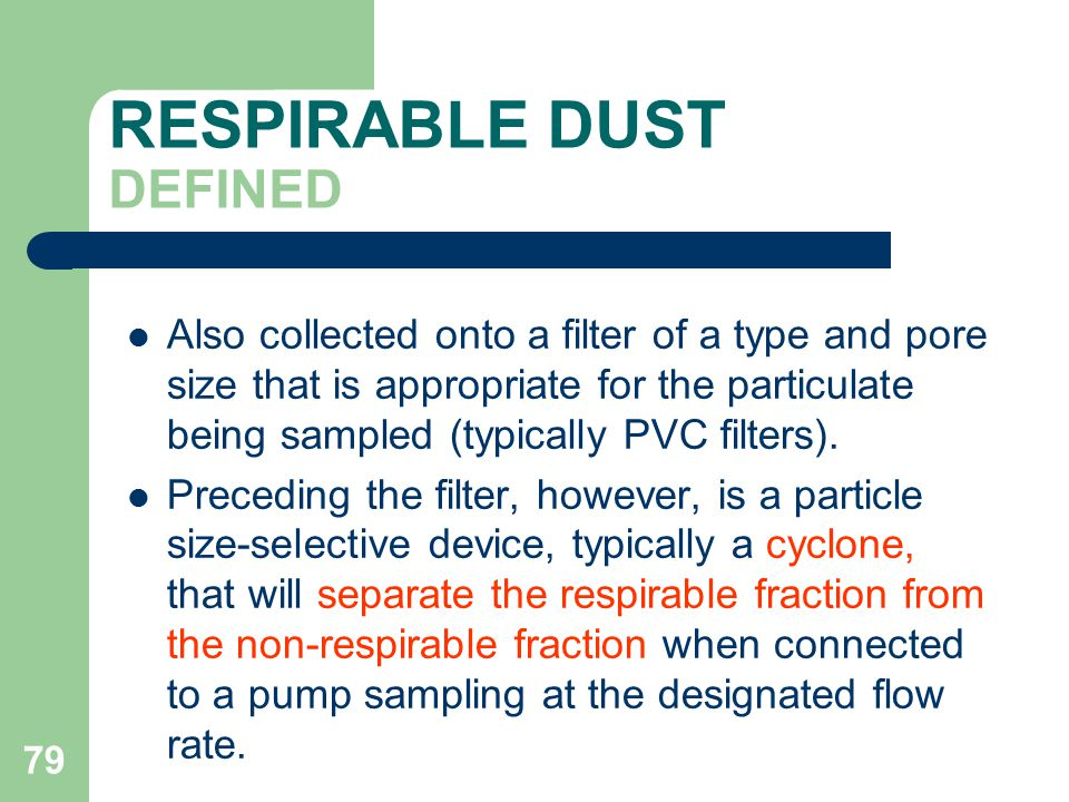 RESPIRABLE DUST DEFINED