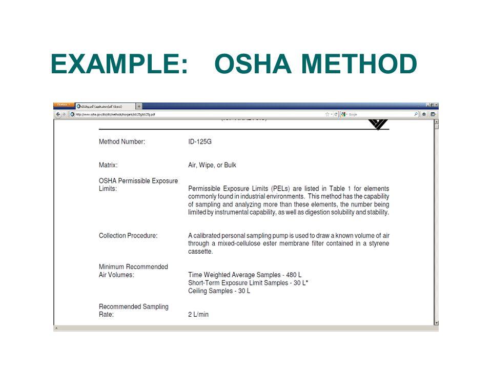 EXAMPLE: OSHA METHOD
